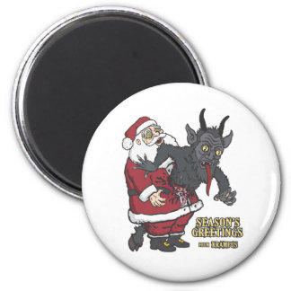 Holiday Greetings from Krampus and Santa Magnets