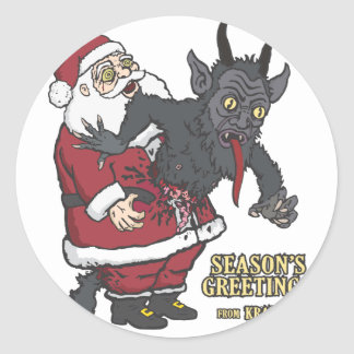 Holiday Greetings from Krampus (and Santa) Classic Round Sticker