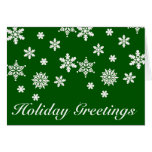 Holiday Greetings Green  and White Christmas Card