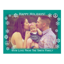 Holiday Greetings Green with snow and peace signs Postcard