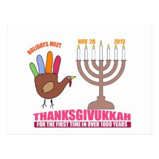 Holiday greetings.  Hanukkah meets Thanksgiving Postcards
