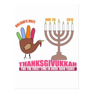 Holiday greetings.  Hanukkah meets Thanksgiving Post Card