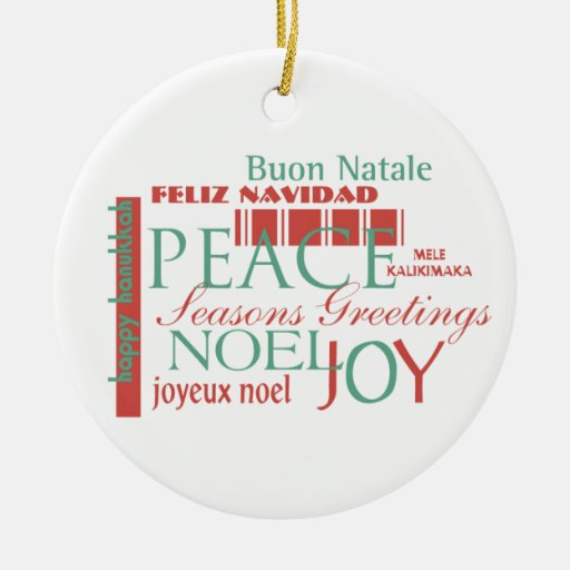Holiday greetings in different languages ornament