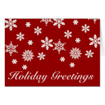 Holiday Greetings Red and White Christmas Card