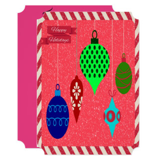 Holiday Greetings with Multi-colored Ornaments Card
