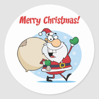 Holiday Greetings With Santa Claus Classic Round Sticker
