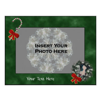 Holiday Greyhound Wreath Photo Template Poster
