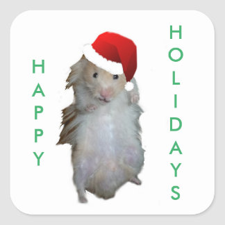 Holiday Hamster Square Sticker