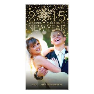 Holiday Happy New Year Snowflake Confetti Glitter Card