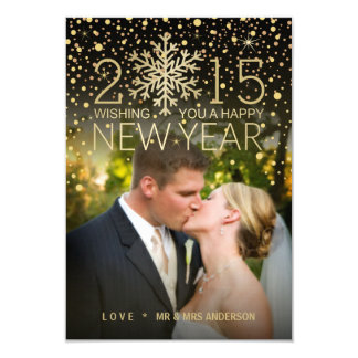 Holiday Happy New Year Snowflake Confetti Photo Card