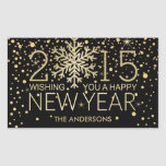 Holiday Happy New Year Snowflake Gold Confetti Stickers