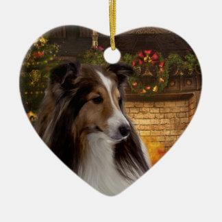 Holiday Heart Sheltie Double-Sided Heart Ceramic Christmas Ornament