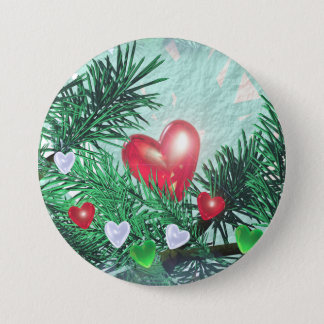 Holiday Hearts and Pine Button