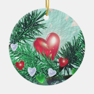 Holiday Hearts and Pine Ceramic Ornament
