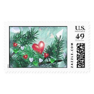 Holiday Hearts and Pine Postage Stamps