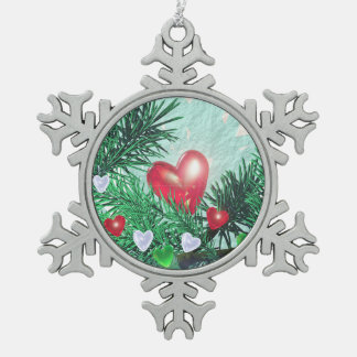 Holiday Hearts and Pine Snowflake Pewter Christmas Ornament