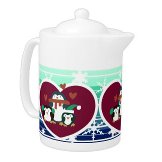 Holiday Hearts and Snowflakes Penguins