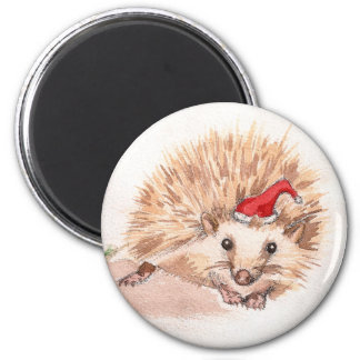 Holiday Hedgehog 2 Inch Round Magnet