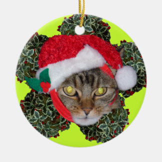 Holiday Herm & Holly Double-Sided Ceramic Round Christmas Ornament