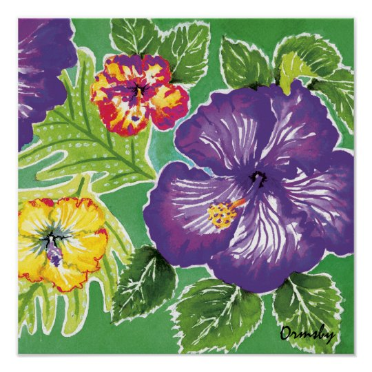 Holiday Hibiscus Green poster
