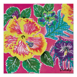 Holiday Hibiscus Magenta poster