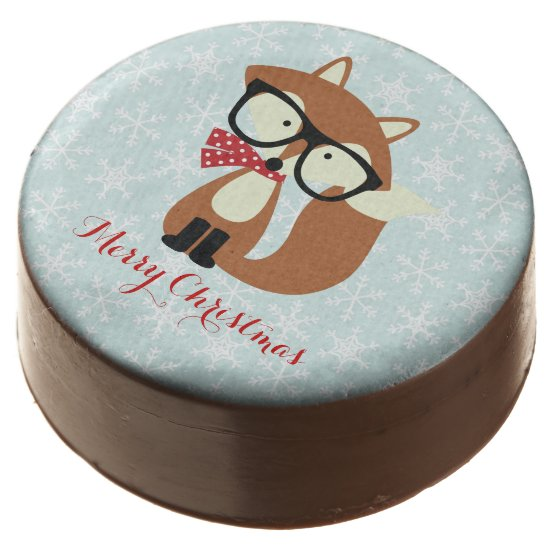 Holiday Hipster Brown Fox Chocolate Dipped Oreo