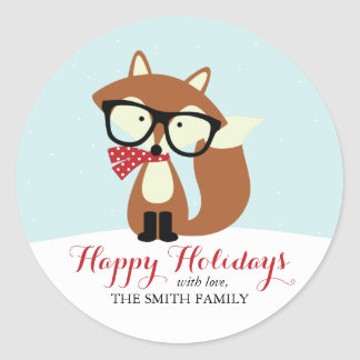 Holiday Hipster Brown Fox Classic Round Sticker