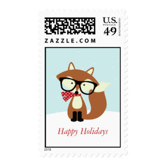 Holiday Hipster Brown Fox Postage Stamps