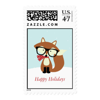 Holiday Hipster Brown Fox Stamp