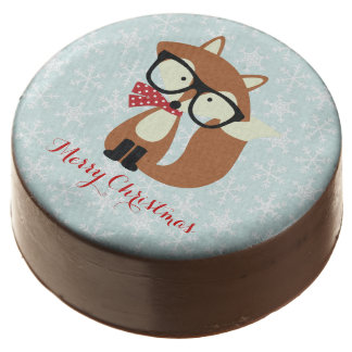 Holiday Hipster Brown Fox Chocolate Covered Oreo