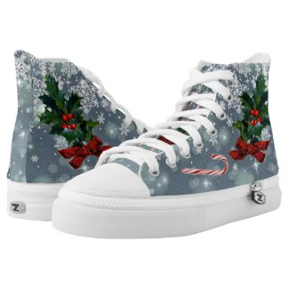 Holiday Holly & Candy Canes In Sparkling Snow Printed Shoes