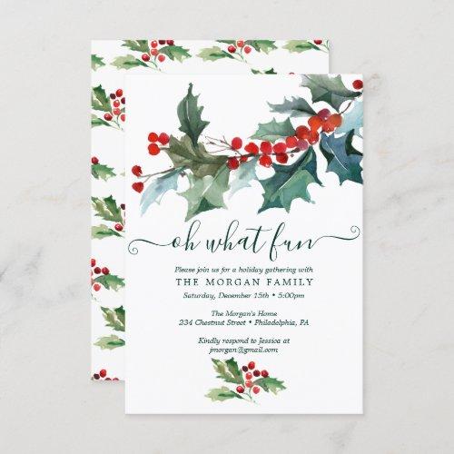 Holiday Holly Christmas Party Invitation