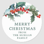 """Holiday Holly Christmas Sticker<br><div class=""""desc"""">Use this lovely sticker on gift bags,  gift wrapping envelopes or anything else you need! Easy to edit!</div>"""
