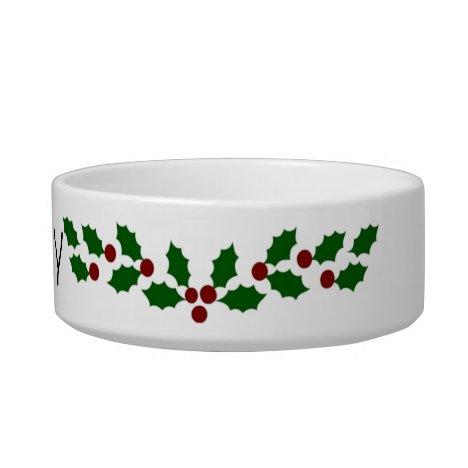 Holiday Holly Customizable Pet Bowl
