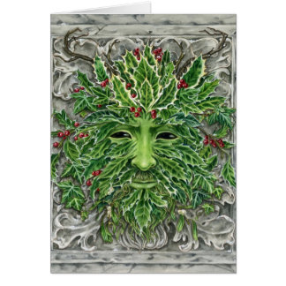 Holiday Holly Green Man card Christmas or Yule