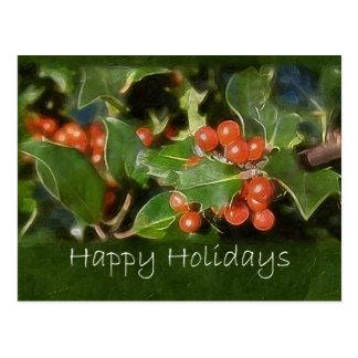 Holiday Holly - Happy Holidays Postcard