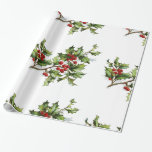 "Holiday Holly Retro Style Gift Wrapping Paper<br><div class=""desc"">This beautiful holly design is large and colorful in order to make any gift look amazing! :) Please recycle. Design compilation copyright Laurie Bethard DBA Pretty_Vintage. Merry Vintage Christmas!</div>"