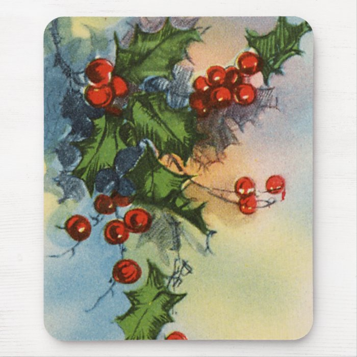 Holiday Holly Watercolor Mouse Pad