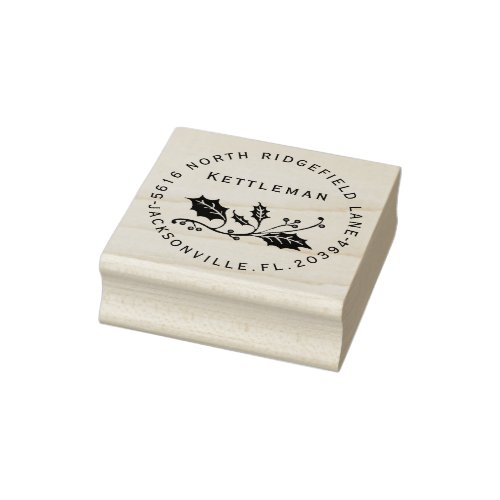 Holiday Holly with Name and Address Rubber Stamp