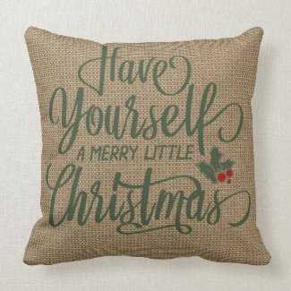 Holiday Home Decor | Christmas | Faux Burlap Throw Pillow