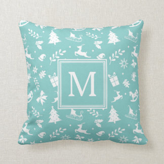 Holiday Home Decor Pastel Teal Monogram Throw Pillow