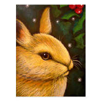 HOLIDAY HONEY BUNNY RABBIT POSTCARD