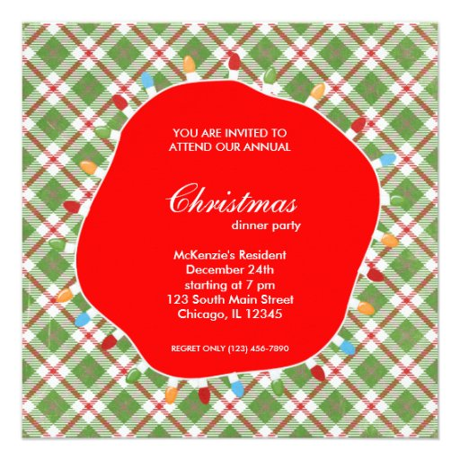 Holiday hoopla dinner personalized invitation