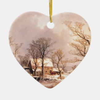 Holiday Horse Country Winter  Destiny Ranch Double-Sided Heart Ceramic Christmas Ornament
