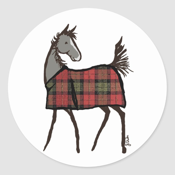 Holiday Horse Foal with Blanket Christmas Classic Round Sticker
