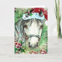 Holiday Horse with Santa Hat