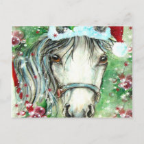 Holiday Horse with Santa Hat