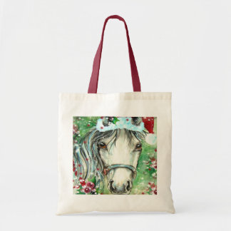 Holiday Horse with Santa Hat Budget Tote Bag