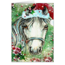 Holiday Horse with Santa Hat Card