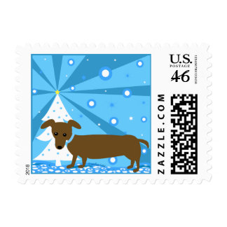 Holiday Hot Dog Dachshund Stamps